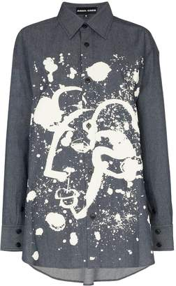 Angel Chen Shepherd paint-splatter denim shirt