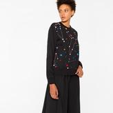 Paul Smith Women's Black 'Milky Way' Print Sweatshirt With Embroidery