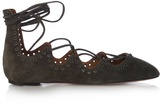 Isabel Marant Leoni eyelet-embellished suede lace-up flats