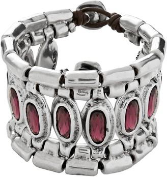 Uno de 50 Armor Bezel Set Swarovski Crystal Accented Cuff Bracelet