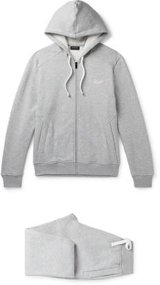 Ermenegildo Zegna Tapered Melange Fleece-Back Cotton-Blend Jersey Tracksuit