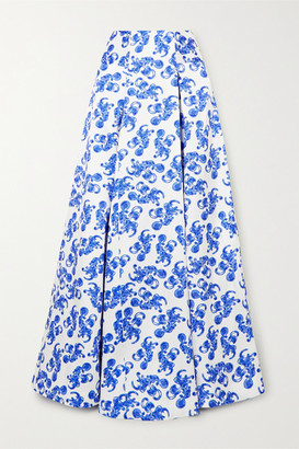 SOLACE London Alma Printed Twill Maxi Skirt - Blue