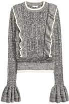 H&M Sweater with Ruffles - Black/white melange - Ladies
