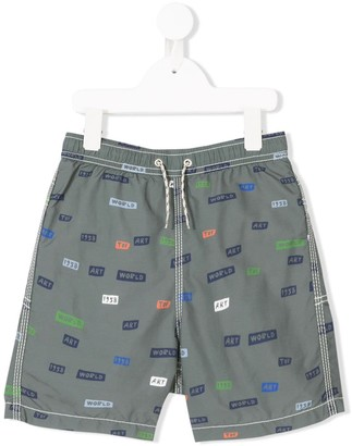 Bellerose Kids Slogan-Print Swim Shorts