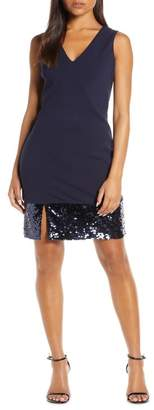 Vince Camuto Sequin Hem Cocktail Sheath Dress