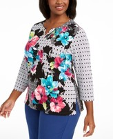 Alfred Dunner Plus Size Bright Idea Embellished Printed Top