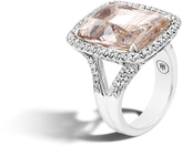 John Hardy Women's Classic Chain Magic Cut Ring, Sterling Silver, 20x15MM Rutilated Topaz, Pave White Diamond (0.62ct)