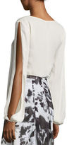 St. John Tie-Neck Slit-Sleeve Silk Blouse