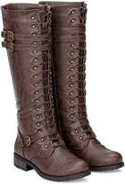 Wild Diva Womens Knee High Lace Up Buckle Military Combat Boots (7, )