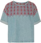 Current/Elliott The Embroidered Denim Top