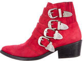 Toga Suede Buckle-Embellished Ankle Boots