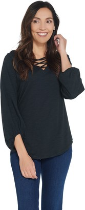 Belle By Kim Gravel Crisscross Neck Slub Jersey Top