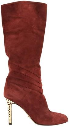 Sergio Rossi Burgundy Suede Boots