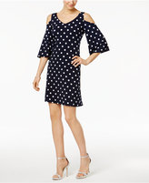Connected Petite Polka-Dot Cold-Shoulder Dress