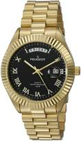 Peugeot 14K All Gold Plated Day Date Roman Numeral Stainless Steel Big Black Face Fluted Bezel Luxury Watch 1029WT