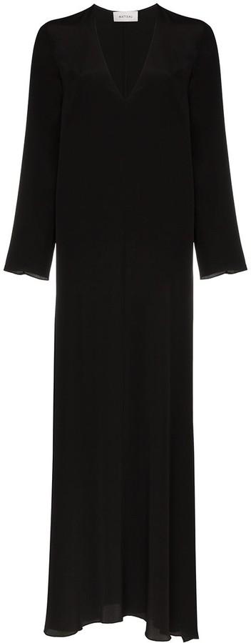 Matteau V-neck long-sleeved silk maxi dress