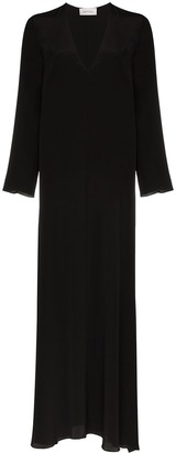 Matteau V-neck long-sleeved silk maxi dress