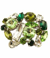 Marta Amore Italian-Made Tuscan Hills Brass Pin with Silver Finish and Medley of Country Green and Clear Crystals