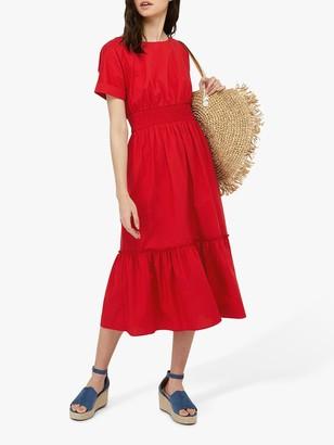 Monsoon Pippa Poplin Midi Dress, Red