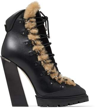 Jimmy Choo Madyn 130 Leather Faux Fur-Trim Boots