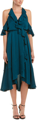 Milly Cold-Shoulder Silk-Blend Midi Dress