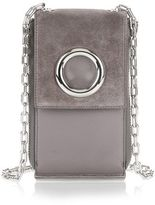 Alexander Wang Riot Shoulder Wallet In Grey Suede With Rhodium