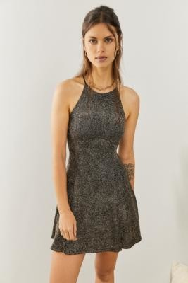 Urban Outfitters Halle Sparkle Halter Mini Dress - Black XS at