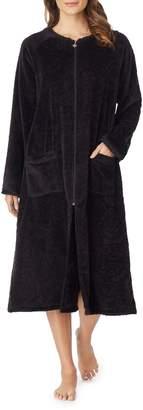 Eileen West Plush Rose Fleece Full-Zip Robe