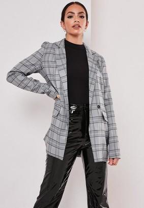 Missguided Tall Gray Plaid Print Blazer