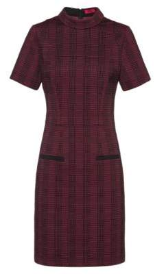 HUGO Stand-collar dress in checked fabric with piped pockets