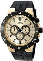 Invicta Pro Diver Men's Quartz Watch with Gold Dial Chronograph display on Black Pu Strap 19197