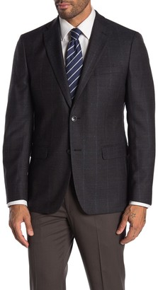 Tommy Hilfiger Brown & Blue Glenplaid with Overcheck Two Button Notch Lapel Sport Coat