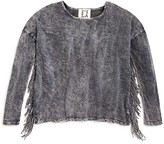 Ppla Girls' Acid Washed Fringed Top - Big Kid