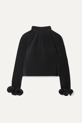 Tibi Cropped Plisse-crepe Top - Black