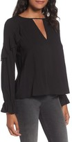 Lush Women's Textured Ruffle Blouse