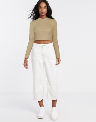 Pimkie wide leg cropped trouser in white
