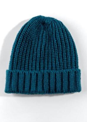 francesca's Darcey Knit Fold-over Beanie - Teal
