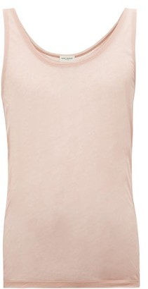Saint Laurent Semi-sheer Cotton-jersey Tank Top - Mens - Pink