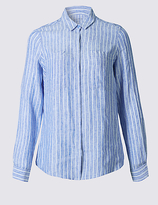 M&S Collection PLUS Pure Linen Striped Long Sleeve Shirt