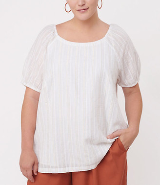 LOFT Plus Shimmer Stripe Puff Sleeve Boatneck Top