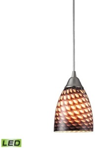 Elk Lighting 1 Light Pendant in Satin Nickel and Coco Glass - Led Offering Up To 800 Lumens (60 Watt Equivalent)