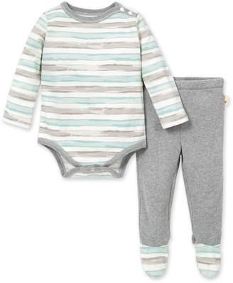 Burt's Bees Tipped Stripe Organic Baby Bodysuit & Thermal Pant Set