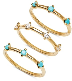 Nadri 18K Gold-Plated Crystal & Stone Stack Ring Set, Set of 3