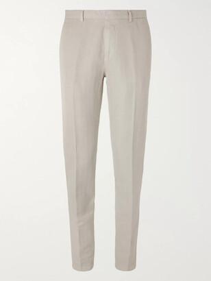 Boglioli Slim-Fit Herringbone Cotton And Linen-Blend Suit Trousers