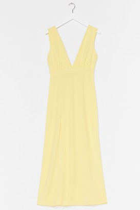 Nasty Gal Womens Plunging V-Neckline Midi Dress with Slit at Side - Lemon