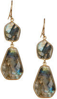 Argentovivo 18K Gold Plated Sterling Silver Geo Stone Double Drop Earrings