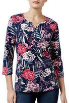 Karen Scott Petite Floral-Print Henley Top