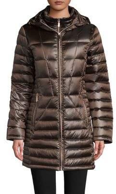 Calvin Klein Zip Front Puffer Jacket with Hood