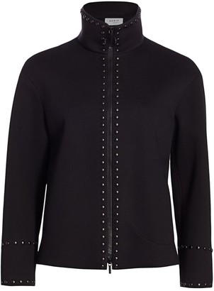 Akris Punto Standup Collar Studded Jacket