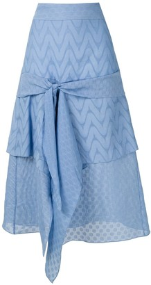Framed Midicircle ruffled skirt
